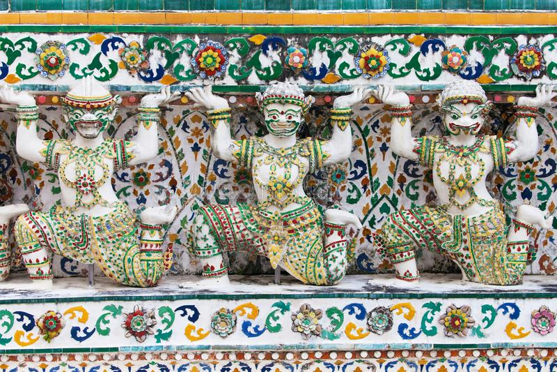 Καρυάτιδες του Wat Arun στοκ φωτογραφίες