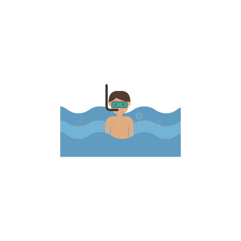 Κατάδυση, άτομο, εικονίδιο κινούμενων σχεδίων θάλασσας Στοιχείο του εικονιδίου ταξιδιού χρώματος Γραφικό εικονίδιο σχεδίου εξαιρε απεικόνιση αποθεμάτων