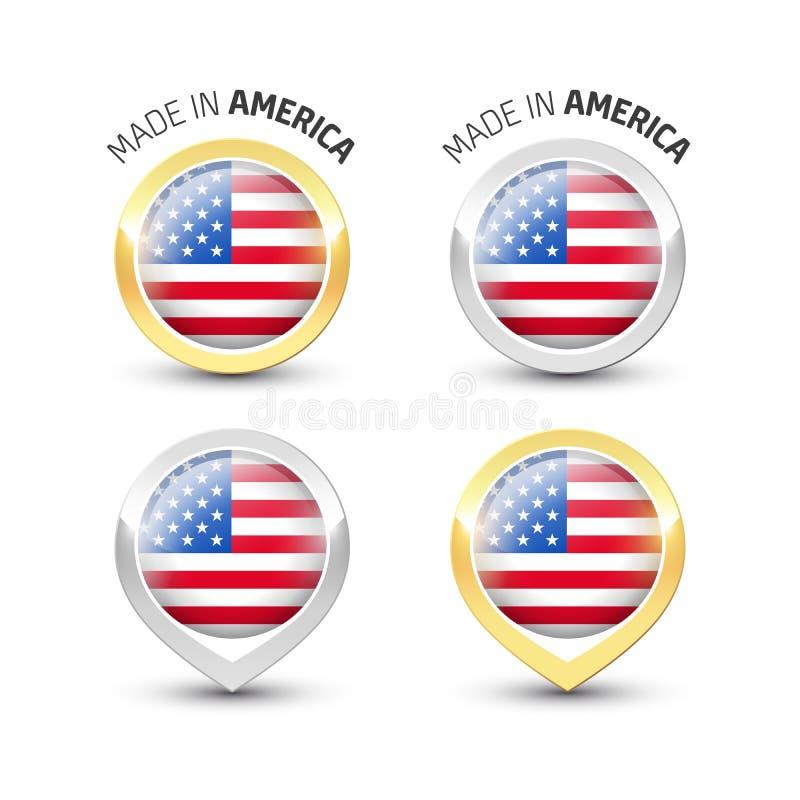 Κατασκευασμένος στην Αμερική ΗΠΑ - στρογγυλές ετικέτες με τις σημαίες ελεύθερη απεικόνιση δικαιώματος