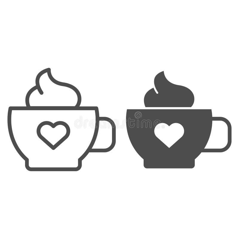 Καφές με τη γραμμή και glyph το εικονίδιο κρέμας Κούπα του καφέ τη διανυσματική απεικόνιση καρδιών που απομονώνεται με στο λευκό  διανυσματική απεικόνιση