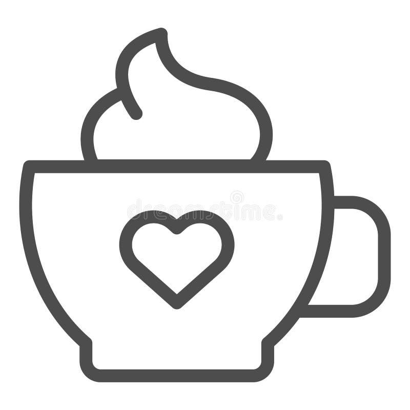 Καφές με το εικονίδιο γραμμών κρέμας Κούπα του καφέ τη διανυσματική απεικόνιση καρδιών που απομονώνεται με στο λευκό Σχέδιο ύφους απεικόνιση αποθεμάτων