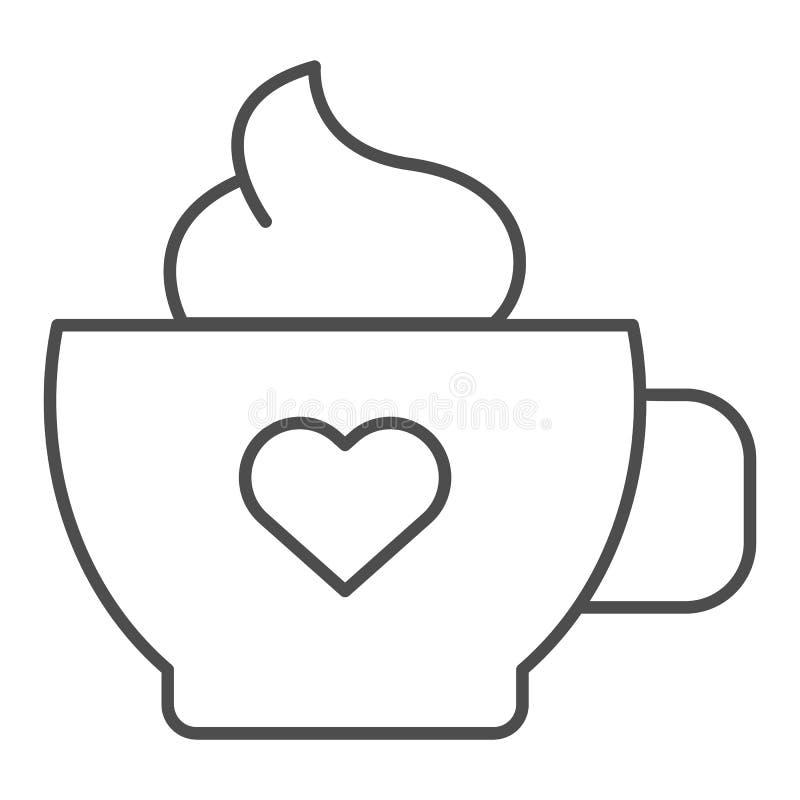 Καφές με το λεπτό εικονίδιο γραμμών κρέμας Κούπα του καφέ τη διανυσματική απεικόνιση καρδιών που απομονώνεται με στο λευκό Ύφος π απεικόνιση αποθεμάτων