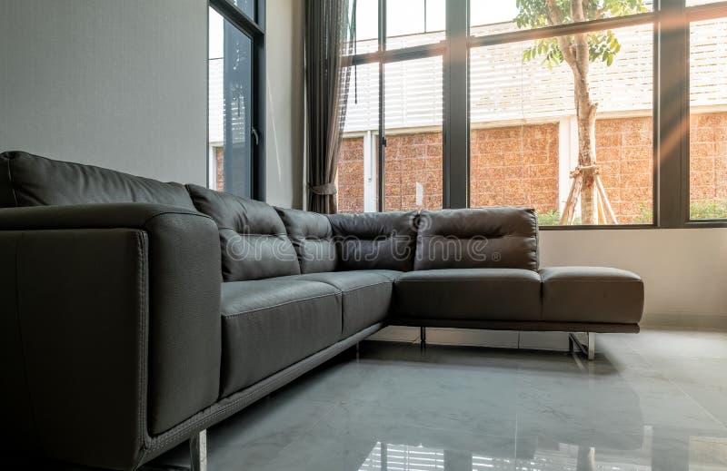 Καφετής καναπές δέρματος στο καθιστικό πολυτέλειας το πρωί στοκ εικόνα με δικαίωμα ελεύθερης χρήσης