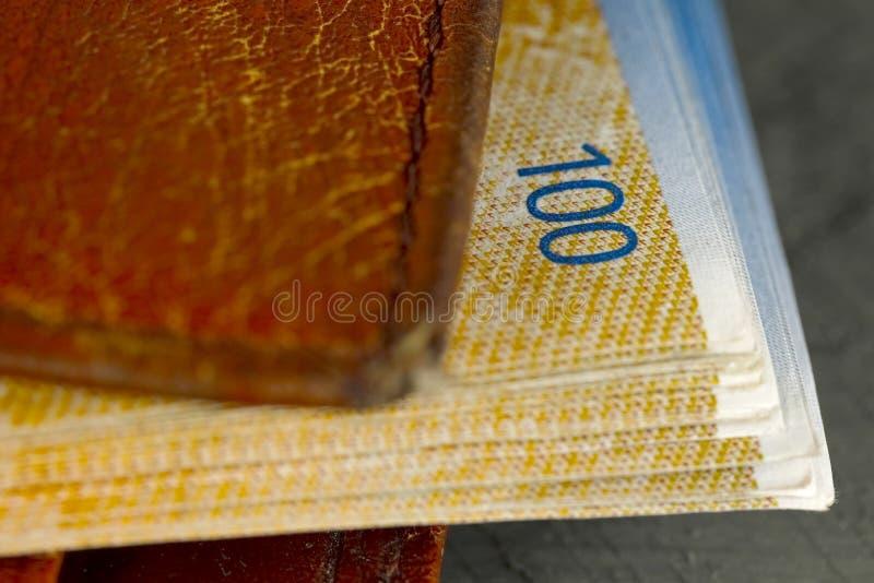 Καφετί πορτοφόλι με τα ελβετικά τραπεζογραμμάτια φράγκων μέσα στοκ φωτογραφία με δικαίωμα ελεύθερης χρήσης