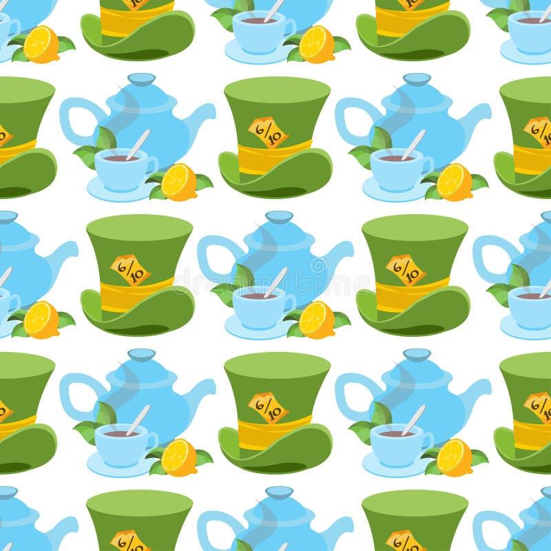 Καπέλο και teapot από τον κόσμο χωρών των θαυμάτων Αυτός ο τρόπος - ότι τρόπος Η άνευ ραφής διανυσματική σύσταση μπορεί να χρησιμ διανυσματική απεικόνιση