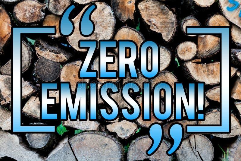 Κείμενο γραψίματος λέξης με μηδενικές εκπομπές Επιχειρησιακή έννοια για την πηγή ενέργειας μηχανών μηχανών που δεν εκπέμπει κανέν στοκ φωτογραφία