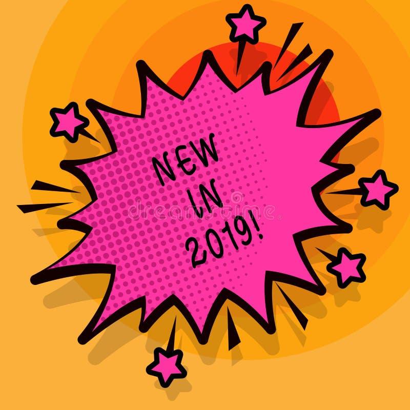 Κείμενο γραψίματος λέξης νέο το 2019 Επιχειρησιακή έννοια για το επερχόμενο ψήφισμα έτους που διαφημίζει το νέο προϊόν Specs απεικόνιση αποθεμάτων