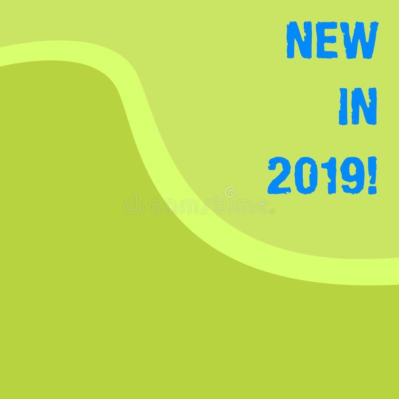 Κείμενο γραψίματος λέξης νέο το 2019 Επιχειρησιακή έννοια για το επερχόμενο ψήφισμα έτους που διαφημίζει το νέο προϊόν Specs ελεύθερη απεικόνιση δικαιώματος