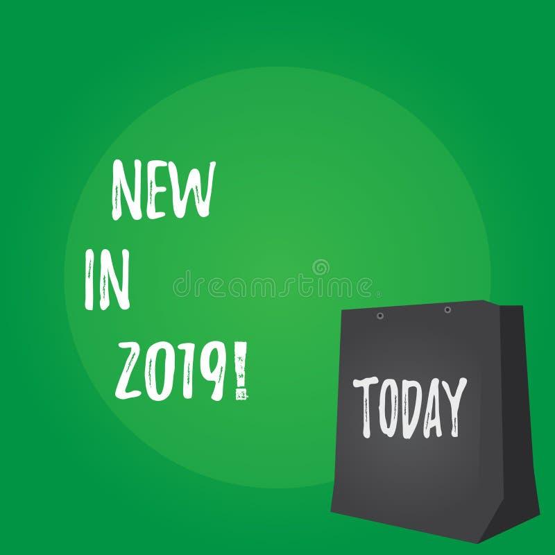 Κείμενο γραφής νέο το 2019 Έννοια που σημαίνει το επερχόμενο ψήφισμα έτους που διαφημίζει το νέο προϊόν Specs ελεύθερη απεικόνιση δικαιώματος