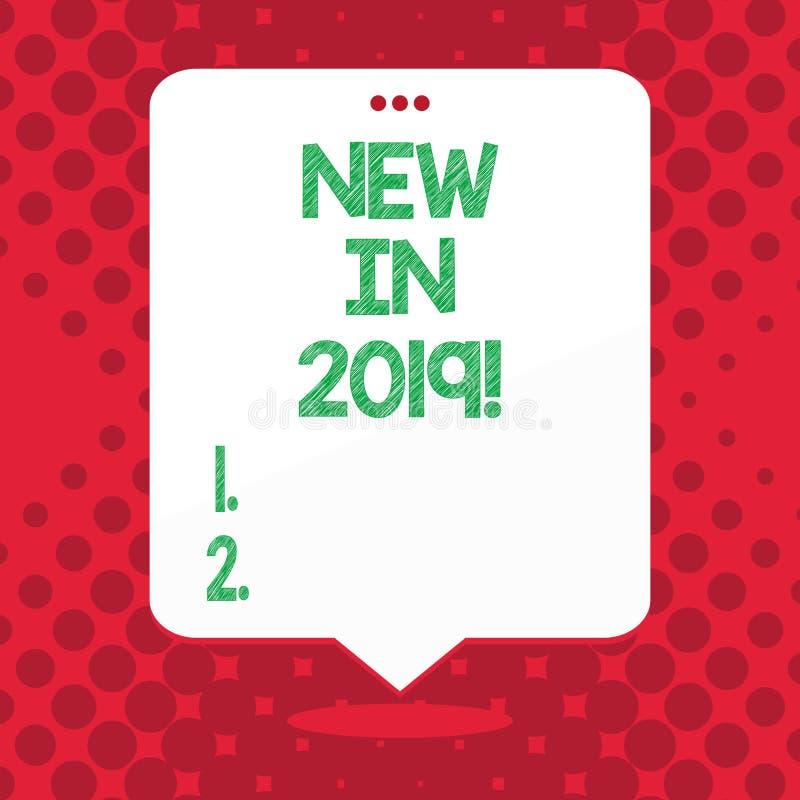 Κείμενο γραφής νέο το 2019 Έννοια που σημαίνει το επερχόμενο ψήφισμα έτους που διαφημίζει το νέο προϊόν Specs διανυσματική απεικόνιση