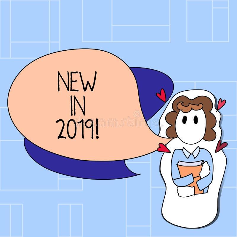 Κείμενο γραφής νέο το 2019 Έννοια που σημαίνει το επερχόμενο ψήφισμα έτους που διαφημίζει το νέο προϊόν Specs απεικόνιση αποθεμάτων