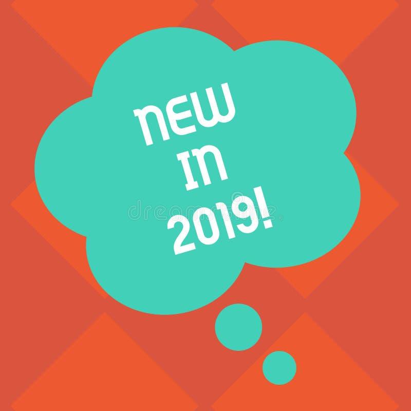 Κείμενο γραφής νέο το 2019 Έννοια που σημαίνει το επερχόμενο ψήφισμα έτους που διαφημίζει το κενό χρώμα Specs νέων προϊόντων Flor διανυσματική απεικόνιση