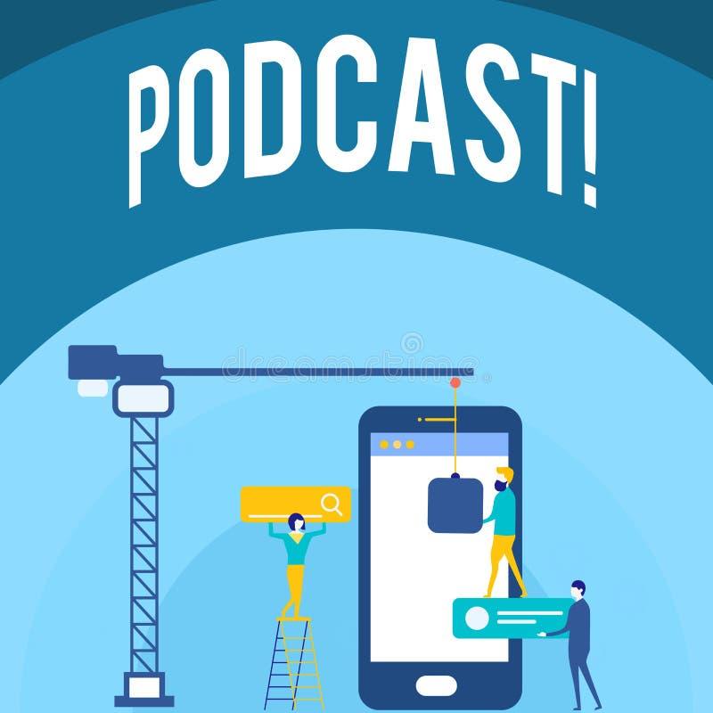 Κείμενο γραφής που γράφει την έννοια Podcast που σημαίνει τη σε απευθείας σύνδεση ψυχαγωγία πολυμέσων μετάδοσης μέσων ψηφιακός ήχ απεικόνιση αποθεμάτων