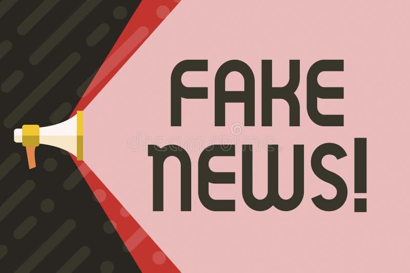 Κείμενο γραφής που γράφει τις πλαστές ειδήσεις Έννοια που σημαίνει την ψεύτικη αβάσιμη εξαπάτηση πληροφοριών διανυσματική απεικόνιση