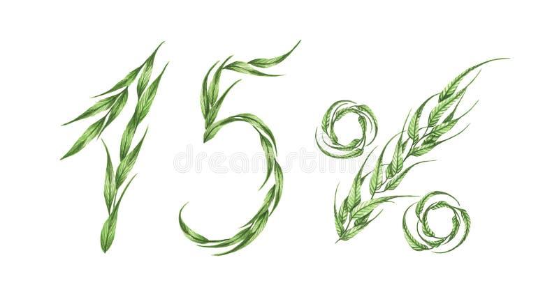 15% κείμενο, δεκαπέντε τοις εκατό από τα πράσινα φύλλα η διακοσμητική εικόνα απεικόνισης πετάγματος ραμφών το κομμάτι εγγράφου τη διανυσματική απεικόνιση