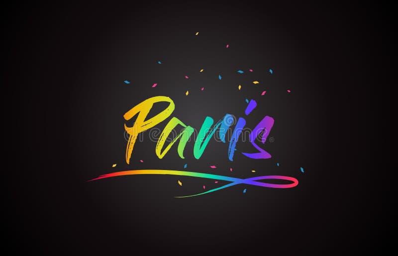 Κείμενο του Παρισιού Word με τα χειρόγραφα χρώματα και το κομφετί ουράνιων τόξων δονούμενα διανυσματική απεικόνιση