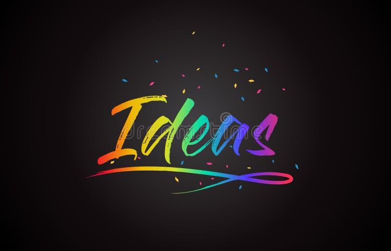 Κείμενο του Word ιδεών με τα χειρόγραφα χρώματα και το κομφετί ουράνιων τόξων δονούμενα απεικόνιση αποθεμάτων
