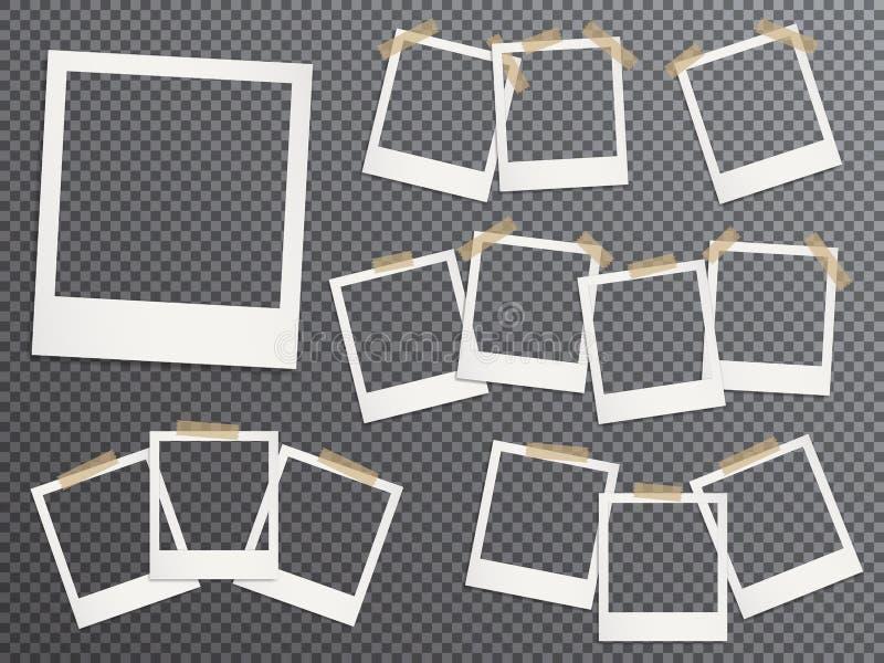 Κενά πλαίσια φωτογραφιών καθορισμένα κρεμώντας στη διανυσματική ρεαλιστική απεικόνιση κολλητικών ταινιών διανυσματική απεικόνιση