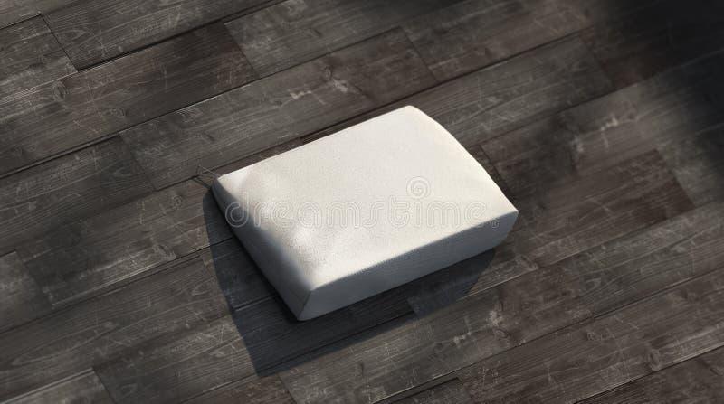 Κενή σακούλα καμβά που βρίσκεται στο ξύλινο πρότυπο πατωμάτων, στοκ φωτογραφία