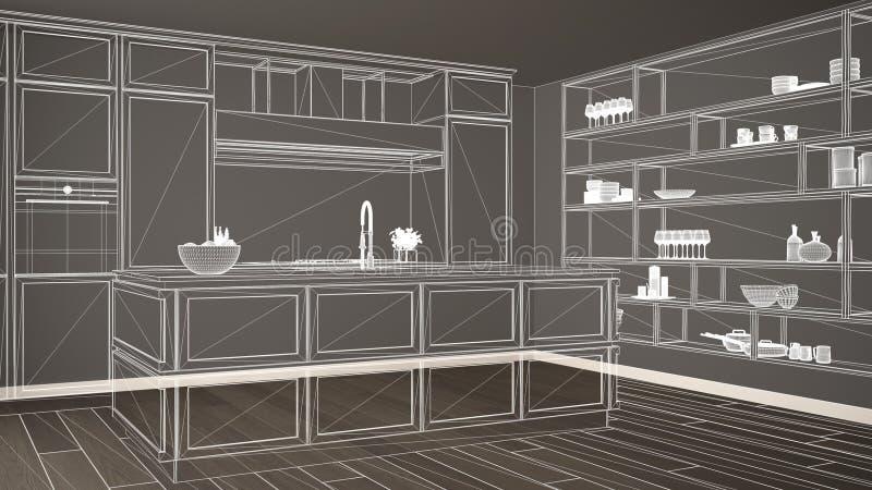 Κενό άσπρο εσωτερικό με το πάτωμα παρκέ, πρόγραμμα σχεδίου αρχιτεκτονικής συνήθειας, άσπρο σκίτσο μελανιού, σχεδιάγραμμα που παρο διανυσματική απεικόνιση