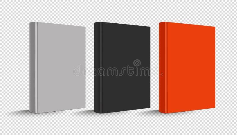 Κενό κάθετο βιβλίο Hardcover καθορισμένο - διανυσματική απεικόνιση - που απομονώνεται στο διαφανές υπόβαθρο διανυσματική απεικόνιση