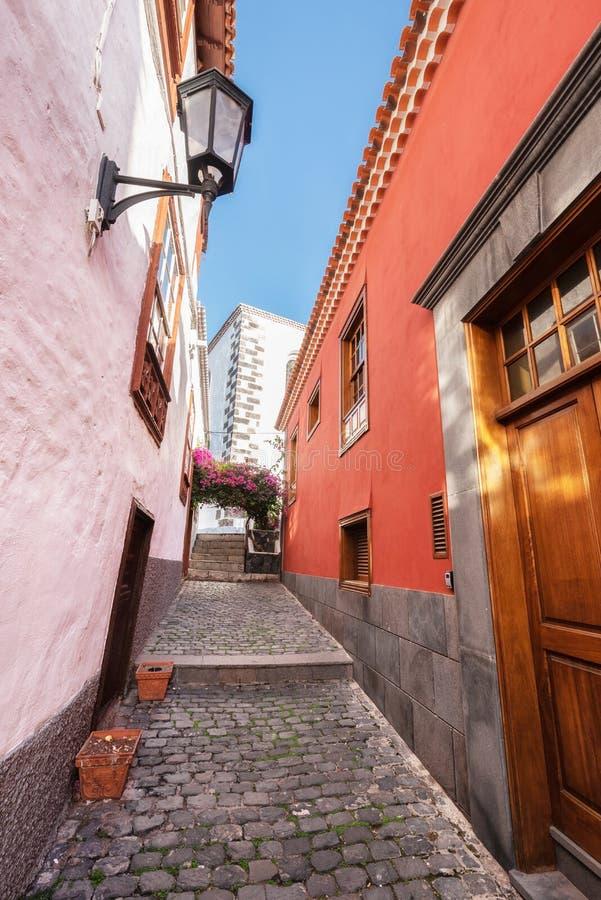 Κεντρικός Garachico στο χωριό, διάσημος τουριστικός προορισμός Tenerife, Κανάρια νησιά, Ισπανία στοκ εικόνες