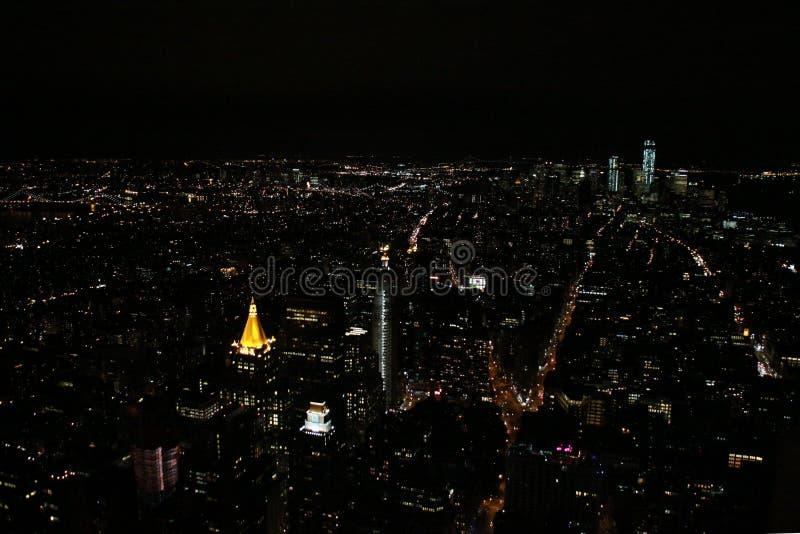 Κεραία NYC τη νύχτα στοκ εικόνες