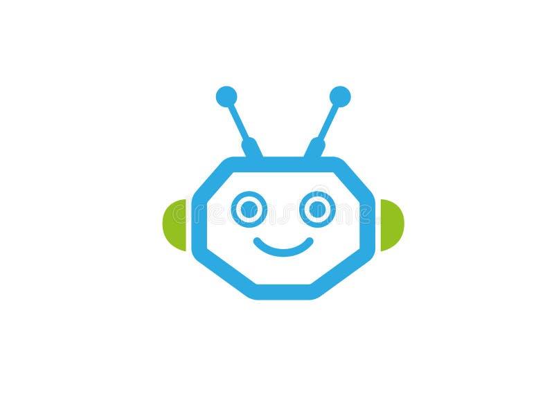 Κεφάλι ρομπότ με το πρόσωπο χαμόγελου για το σχέδιο λογότυπων ελεύθερη απεικόνιση δικαιώματος