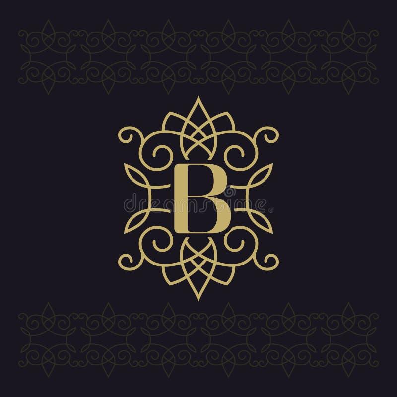 Κεφαλαίο γράμμα Β Όμορφο μονόγραμμα Κομψό λογότυπο καλλιγραφικό σχέδιο Έμβλημα πολυτέλειας Εκλεκτής ποιότητας διακόσμηση Απλό ύφο διανυσματική απεικόνιση