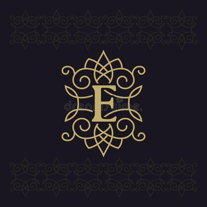 Κεφαλαίο γράμμα Ε Όμορφο μονόγραμμα Κομψό λογότυπο καλλιγραφικό σχέδιο Έμβλημα πολυτέλειας Εκλεκτής ποιότητας διακόσμηση Απλό ύφο ελεύθερη απεικόνιση δικαιώματος