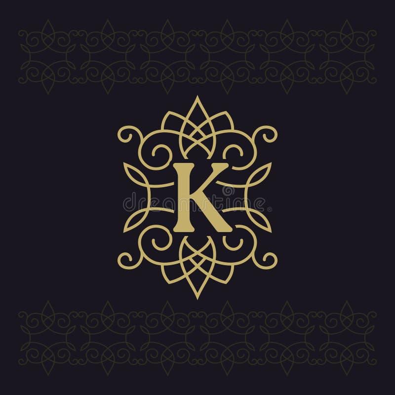 Κεφαλαίο γράμμα Κ Όμορφο μονόγραμμα Κομψό λογότυπο καλλιγραφικό σχέδιο Έμβλημα πολυτέλειας Εκλεκτής ποιότητας διακόσμηση Απλό ύφο απεικόνιση αποθεμάτων