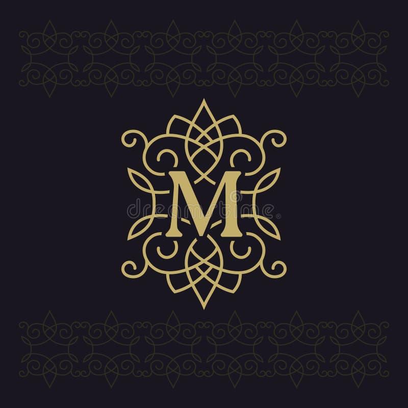 Κεφαλαίο γράμμα Μ Όμορφο μονόγραμμα Κομψό λογότυπο καλλιγραφικό σχέδιο Έμβλημα πολυτέλειας Εκλεκτής ποιότητας διακόσμηση Απλό ύφο απεικόνιση αποθεμάτων