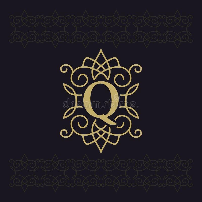 Κεφαλαίο γράμμα Q Όμορφο μονόγραμμα Κομψό λογότυπο καλλιγραφικό σχέδιο Έμβλημα πολυτέλειας Εκλεκτής ποιότητας διακόσμηση Απλό ύφο απεικόνιση αποθεμάτων