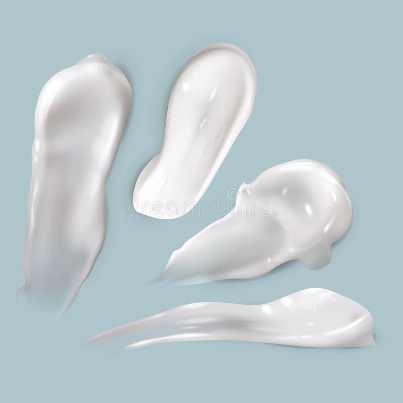 Κηλίδες κρέμας Η ρεαλιστική καλλυντική άσπρη κρεμώδης παχιά ομαλή κηλίδα λοσιόν προϊόντων πτώσης skincare απομόνωσε τη διανυσματι απεικόνιση αποθεμάτων