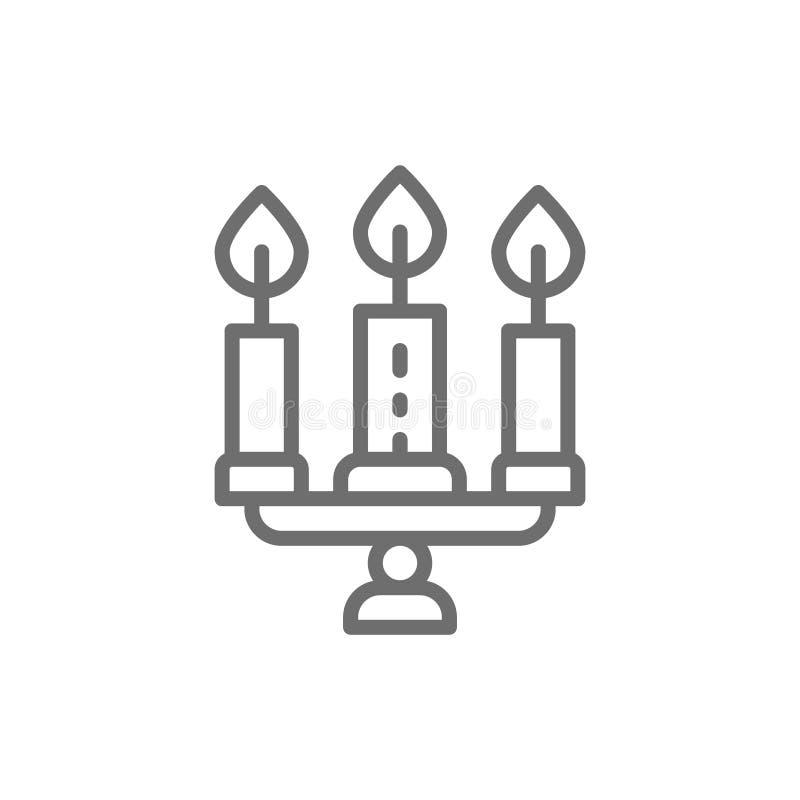 Κηροπήγιο, πολυέλαιος με το εικονίδιο γραμμών κεριών διανυσματική απεικόνιση
