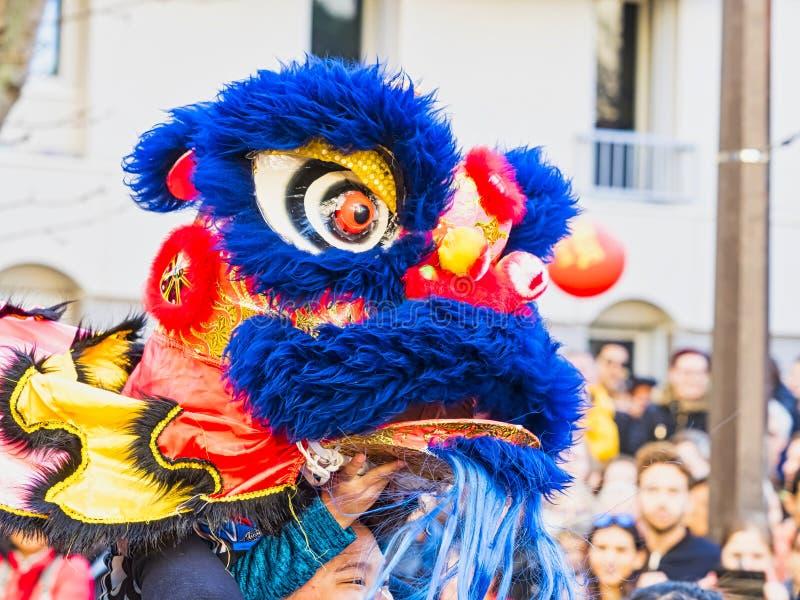 Κινεζικό νέο έτος 2019 Παρίσι Γαλλία - χορός λιονταριών στοκ φωτογραφίες με δικαίωμα ελεύθερης χρήσης