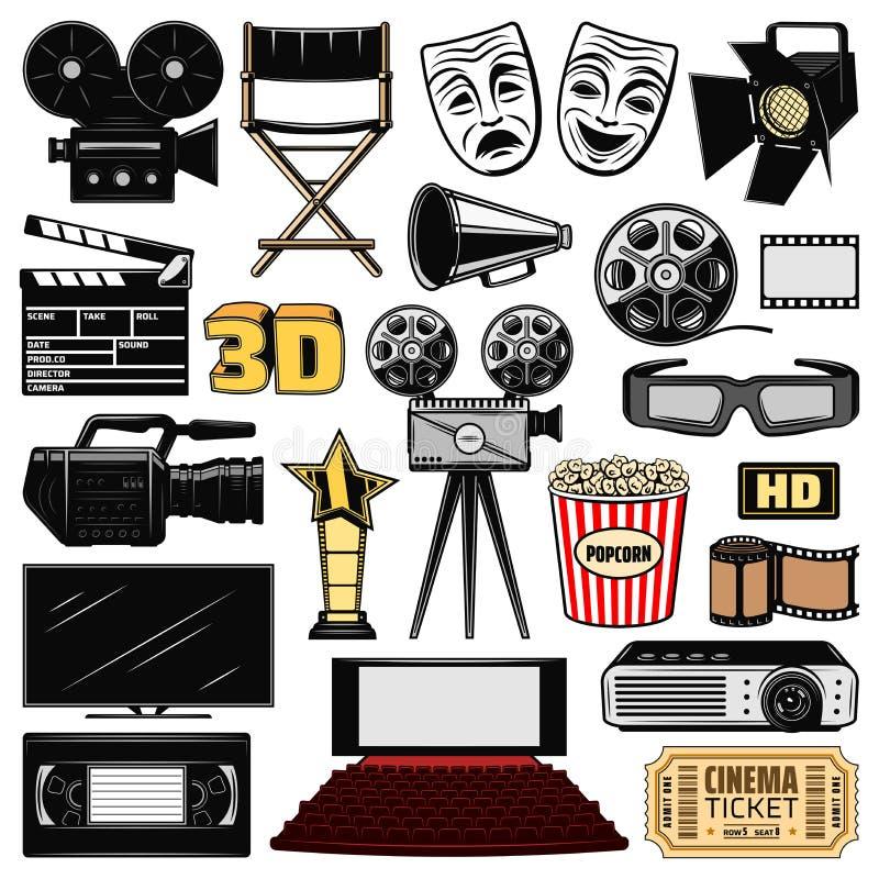 Κινηματογραφία και αναδρομικά εικονίδια κινηματογράφων κινηματογράφων διανυσματική απεικόνιση