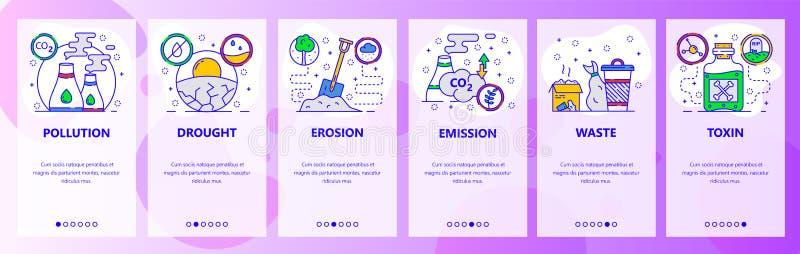 Κινητές app onboarding οθόνες Γήινη ρύπανση, σφαιρικές θέρμανση και κλιματική αλλαγή, εκπομπή καυσαερίων, απόβλητα Διάνυσμα επιλο απεικόνιση αποθεμάτων