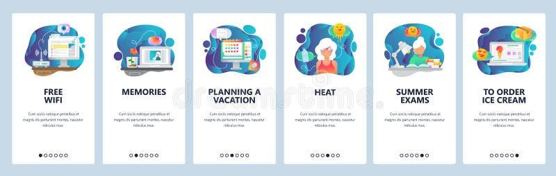 Κινητές app onboarding οθόνες Θερινές διακοπές σε μια παραλία, εργαζόμενος γραφείων που ονειρεύονται για τις διακοπές Διανυσματικ ελεύθερη απεικόνιση δικαιώματος
