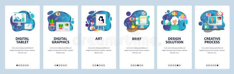 Κινητές app onboarding οθόνες Ψηφιακή απεικόνιση, τέχνη δημιουργικός και σχέδιο Διανυσματικό πρότυπο εμβλημάτων επιλογών για τον  απεικόνιση αποθεμάτων