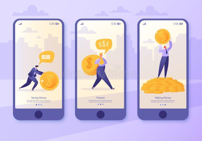 Κινητή app σελίδα, σύνολο οθόνης Έννοια για τον ιστοχώρο στο θέμα επιχειρήσεων και χρηματοδότησης Παραγωγή των χρημάτων, εμπορική απεικόνιση αποθεμάτων