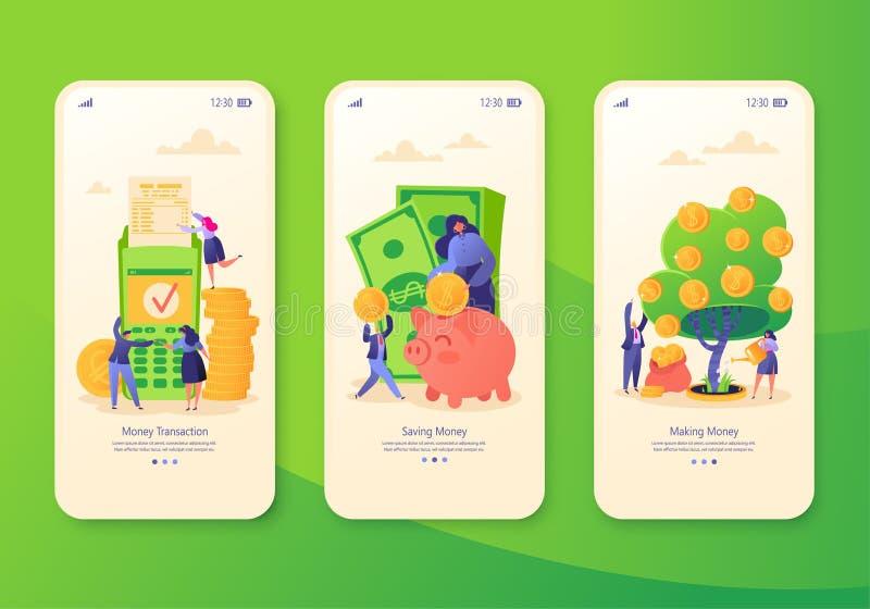 Κινητή app σελίδα, σύνολο οθόνης Έννοια για τον ιστοχώρο στο θέμα επιχειρήσεων και χρηματοδότησης ελεύθερη απεικόνιση δικαιώματος