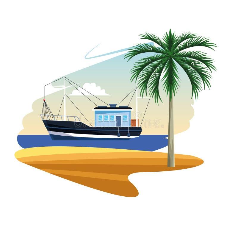 Κινούμενα σχέδια αλιευτικών σκαφών διανυσματική απεικόνιση