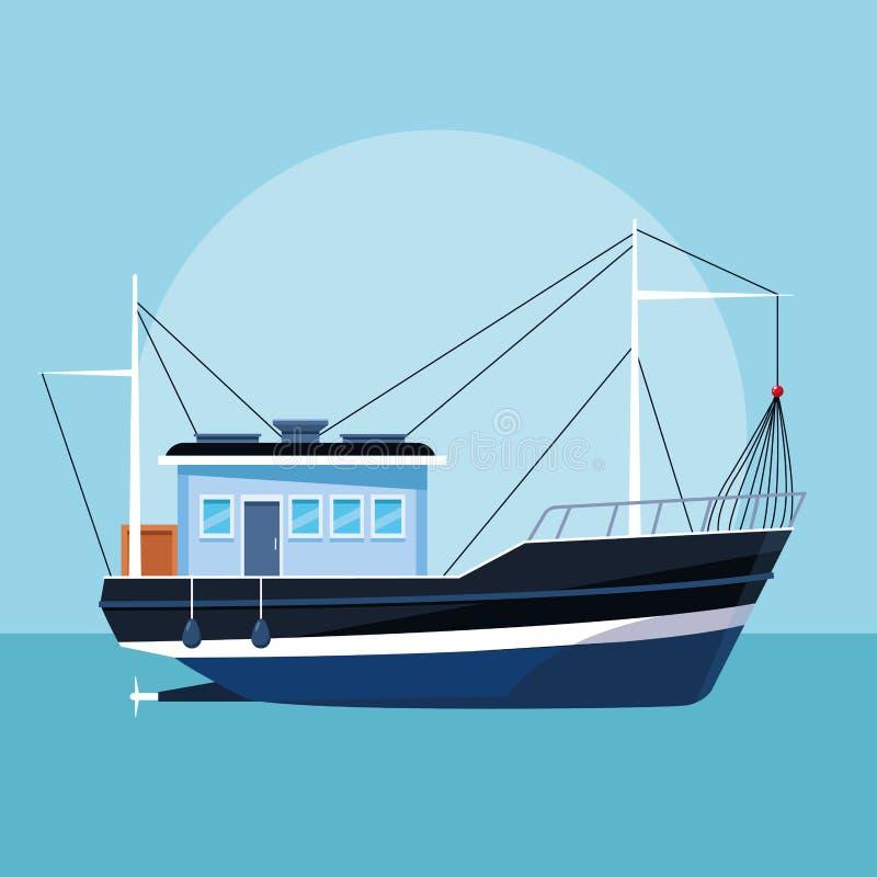 Κινούμενα σχέδια αλιευτικών σκαφών απεικόνιση αποθεμάτων