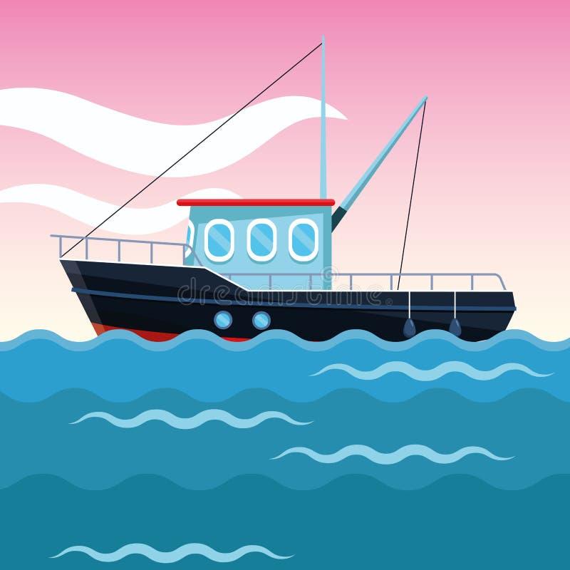 Κινούμενα σχέδια αλιευτικών σκαφών ελεύθερη απεικόνιση δικαιώματος