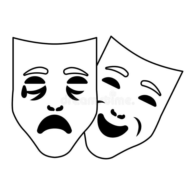 Κινούμενα σχέδια μασκών καρναβαλιού ελεύθερη απεικόνιση δικαιώματος