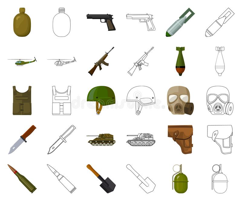 Κινούμενα σχέδια στρατού και εξοπλισμών, εικονίδια περιλήψεων στην καθορισμένη συλλογή για το σχέδιο Όπλα και διανυσματικός Ιστός απεικόνιση αποθεμάτων