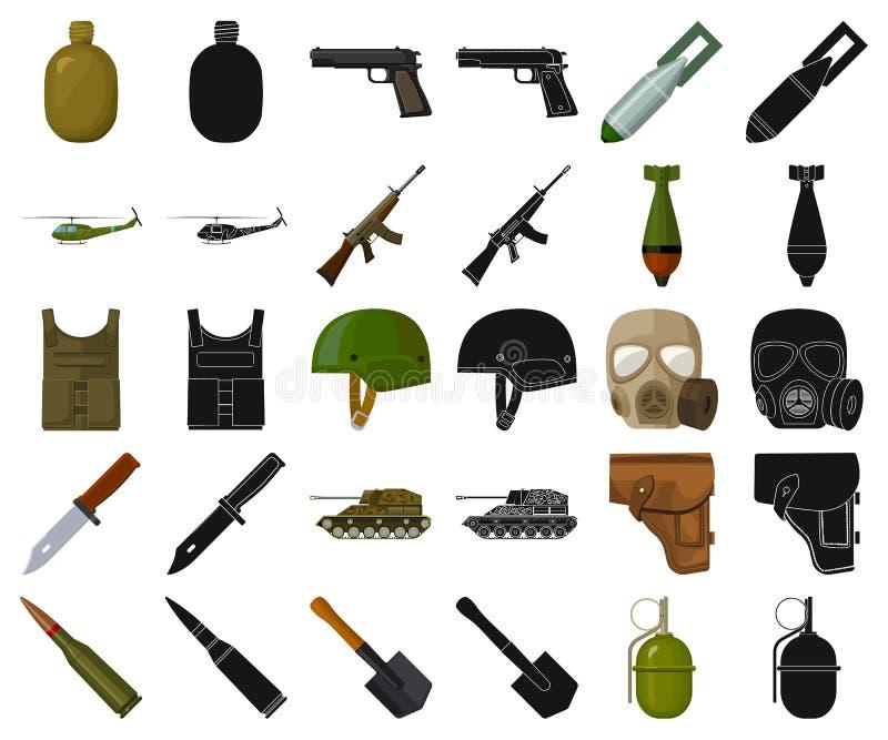 Κινούμενα σχέδια στρατού και εξοπλισμών, μαύρα εικονίδια στην καθορισμένη συλλογή για το σχέδιο Όπλα και διανυσματικός Ιστός αποθ απεικόνιση αποθεμάτων