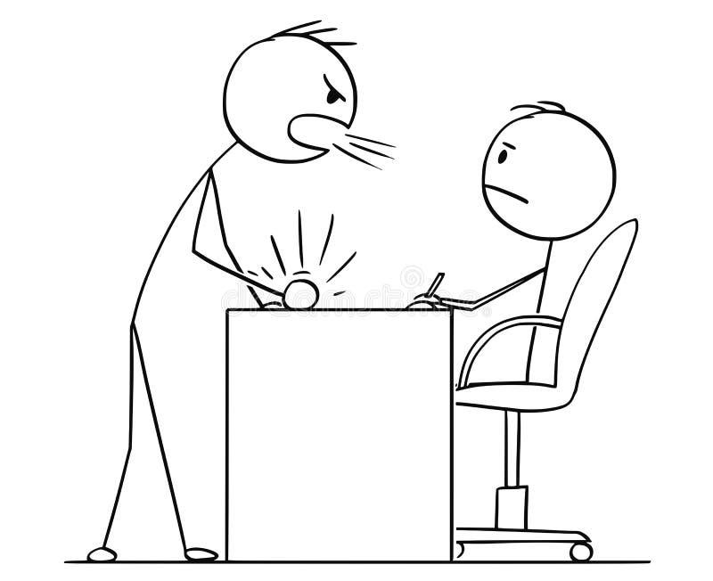 Κινούμενα σχέδια του ατόμου ή του επιχειρηματία που φωνάζουν στον προϊστάμενο ή τον υπάλληλο ή της κατώτερης συνεδρίασης πίσω από ελεύθερη απεικόνιση δικαιώματος