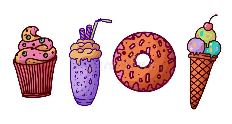Κινούμενα σχέδια που τίθενται με τα γλυκά, μεγάλο σχέδιο για οποιουσδήποτε λόγους επίσης corel σύρετε το διάνυσμα απεικόνισης Πρό απεικόνιση αποθεμάτων